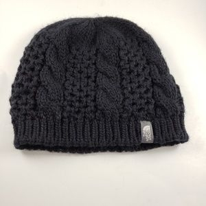 The North Face Black Knit Fleece Lined Beanie Hat